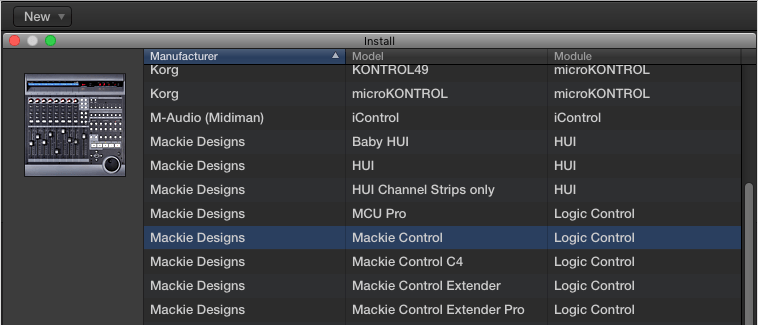 logic select mackie