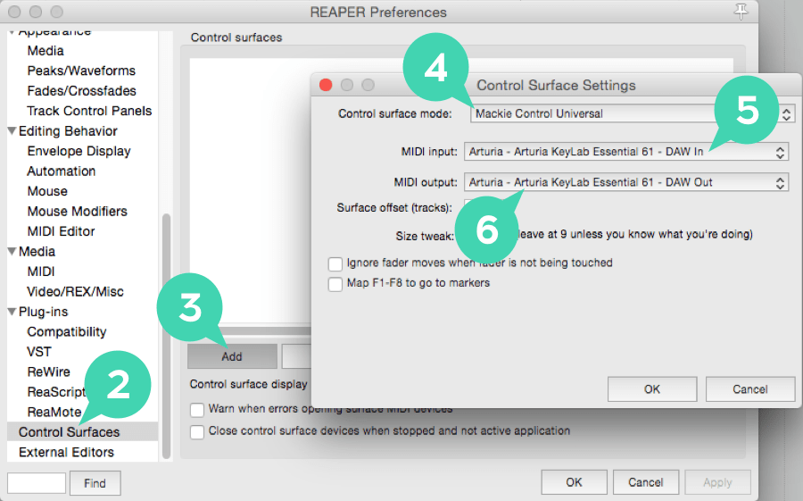 reaper preferences controlsurface