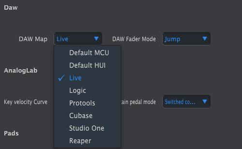 keylab mkii mcc select daw control surface live