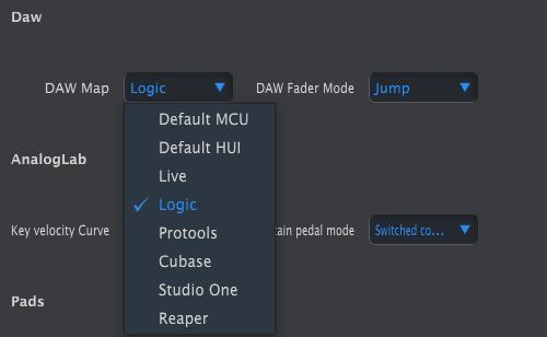 keylab mkii mcc select daw control surface logic